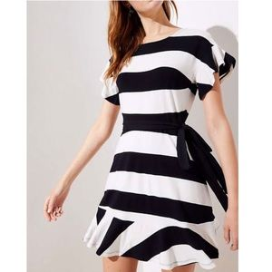 LOFT Black Stripe Tie Waist Flounce Mini Dress